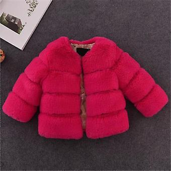 Girls Fur Jacket For Tops Clothes, Baby Jackets Warm Coat Solid Color