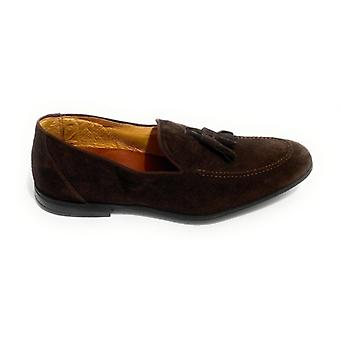 Lenny Men's Moccastine In Suede With Hole Moro's Head And Pendagli Us20el07