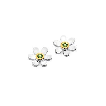 Sterling Silver Stud Earrings - Origins Daisy + Peridot + Gold Plated