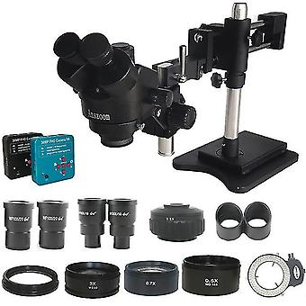 0.5 Adapter 3.5x-90x double arm simul focal trinocular stereo microscope 38mp hdm-compatible usb camera phone pcb jewelry tools