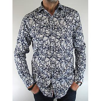 Blue & Abstract Floral Print Shirt