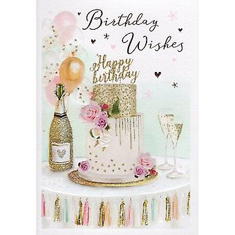 ICG Ltd Open Birthday Card Essence Range - Cake & Champagne