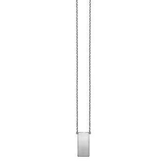 14k White Gold Necklace with Polished Bar Pendant