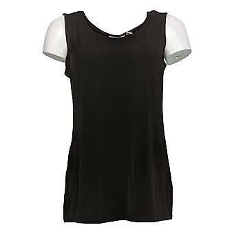 Susan Graver Women's Top Printed Tunic Set with Lace Trim Black A346690