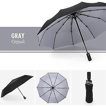 Windproof Automatic Double Umbrella Rain(Gray)
