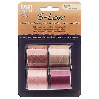Super-Lon (S-Lon) Cord, Size 18, Four 77 Yard Spools, Tulips Mix
