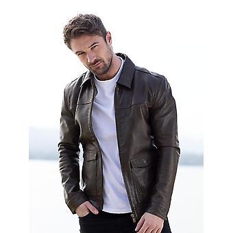 Plumpton Leather Jacket in Dark Khaki