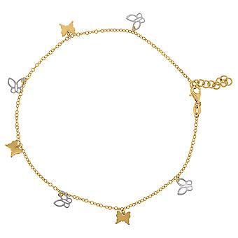 14k twee toon gouden vrouwen gepolijst finish vlinder engel vleugels charme enkelband sieraden geschenken voor vrouwen