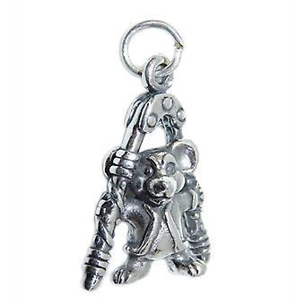 Mouse With Nutcracker Sterling Silver Charm .925 X 1 Mice Christmas Charms - 15348