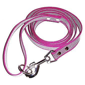 Anti-slip leash with handle, fuchia/white
