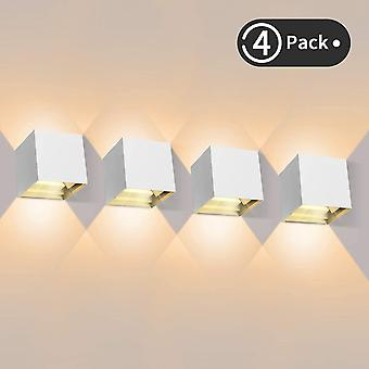 White 4 pieces outdoor led wall light 12w indoor wall lights 3000k warm white waterproof design ip65 - black dt6764