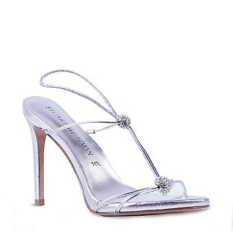 Stuart Weitzman Women's stiletto slingback sandals in silver leather with strass