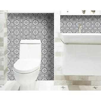 """5"""" X 5"""" Gray and White Spire Peel and Stick Removable Tiles"""