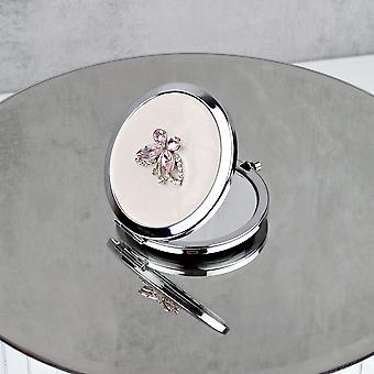 Sophia Silverplate Pink Butterfly Kompaktspiegel