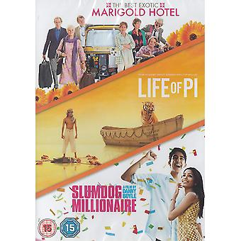 3 Film Collection: The Best Exotic Marigold Hotel   Life Of Pi   Slumdog Millionaire DVD