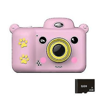 Kids Digital Camera Kids Toys 2.4 inch HD Screen with 32GB SD card(Pink)