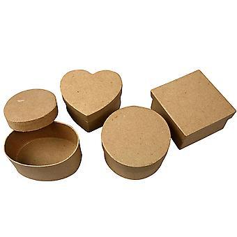 4 cajas de medio formas variadas papel maché para manualidades | Papier Maché cajas