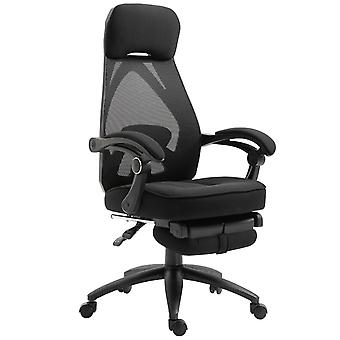 Vinsetto Mesh Swivel Task Chair for Home Office Lunch Break Recliner High Back Adjustable Height with Footrest, Headrest, Black