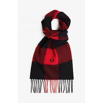 Fred Perry Gingham Scarf (Black/Racing Red)