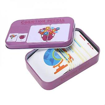 Baby Infant 32pcs Flash Card Jigsaw Cognition Puzzle Shape Matching Card Toy