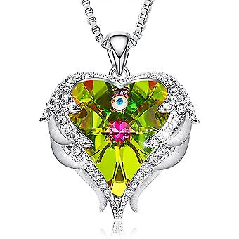 Angel Wing Love Heart Halsband för kvinnor Silver Tone Hänge Mors Dag Smycken Gåvor