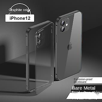 Convient pour iphone 13mini-5,4 pouces cadre métallique étui de téléphone portable frosted transparent pc tout compris housse de protection