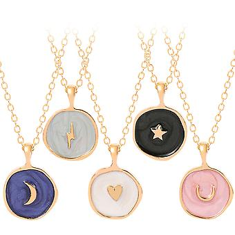 5pcs Fashion Star Moon Men's And Women's Necklace Double-layer Pendant Accessories