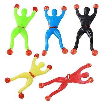 10pcsウォールクライマースパイダーマンフリップバケツ粘着性スパイダーマン子供のおもちゃアンチストレス