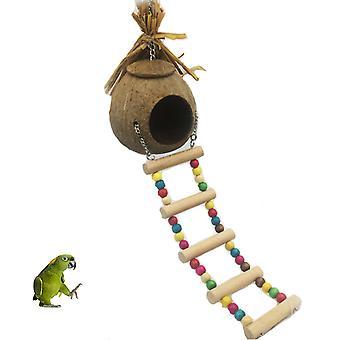 Natürliche Kokosnuss Muschel Nest Treppe Set für Haustier Papageien