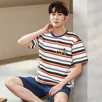 Men Summer Pajama Sets Cotton Nightwear Fashion Letter Beautiful