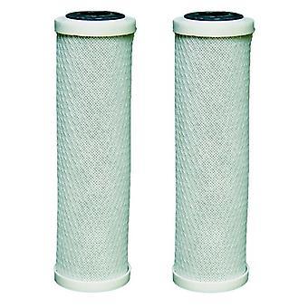 """2 x Carbon Water Filter Cartridges geschikt voor alle 10 """"Behuizingen voor RO omgekeerde osmose"""