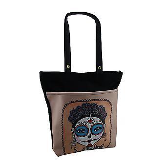 国防総省砂糖頭蓋骨スケルトン女の子 w/ブラック猫ビニール ・ キャンバス トートバッグ ハンドバッグ
