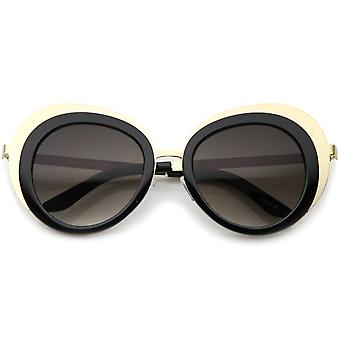 Women's Oversize Two-Tone Metal Frame Border Round Sunglasses 50mm
