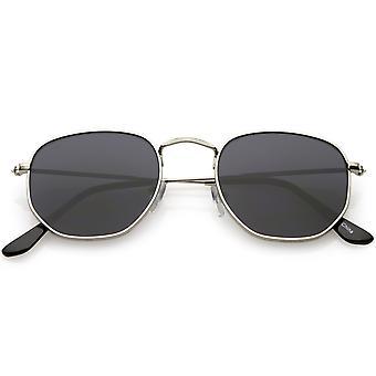 Large Metal Hexagonal Sunglasses Slim Arms Neutral Colored Flat Lens 54mm