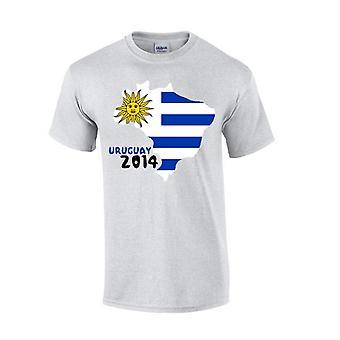 Uruguay 2014 Pays Drapeau T-shirt (gris)