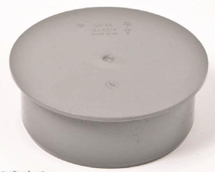 Waste Pipe 32 mm Cap / Stop End - Push-Fit / Compression - Grey