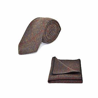 Erfgoed Check aarde bruin Tie & zak vierkante Set - Tweed, geruite land Look