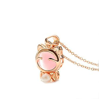 Pink Womens Kitty Necklace Charm With Gold Chain