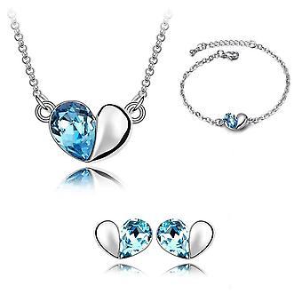 مجموعة السماء الزرقاء قلب الحب مصمم المجوهرات تحت عنوان قلادة سوار أقراط BG1403