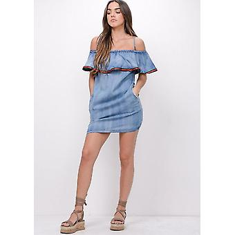 Stripe Ruffle franje Bardot Denim jurk blauw