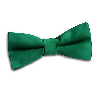 Emerald Green Plain Satin Bow Tie pre-legato per i ragazzi