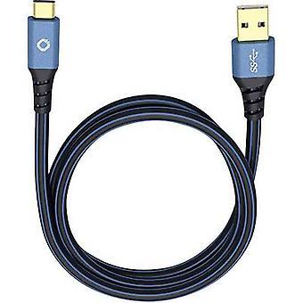 USB 3.1 Cable [1x USB 3.0 connector A - 1x USB-C plug] 1.00 m Blue gold plated connectors Oehlbach USB Plus C3