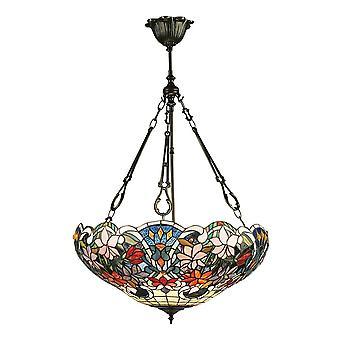 Interiors 1900 Sullivan Rich Floral Tiffany Design Inverted Pendant Shade