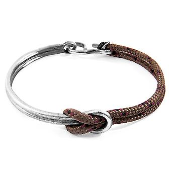 Anchor & Crew Brown Tay Silver And Rope Half Bangle