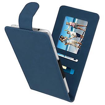 """Universal vertikal flip case + kortplatser för 5,5"""" – 6,0"""" Smartphones – Blå"""
