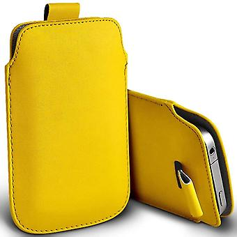 ONX3 (Yellow) Premium Slip In Pull Tab Sleeve Faux Leather Pouch Case Cover For Huawei Honor View 10 [XXXL]