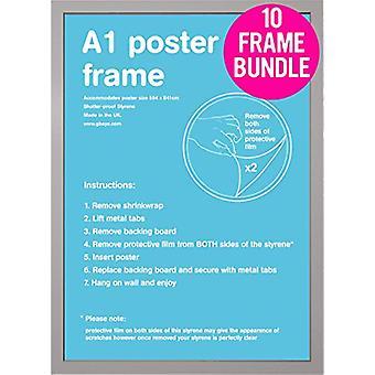 GB Posters 10 Silver A1 Poster Frames 59.4 x 84.1cm Bundle
