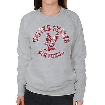 US Airforce Eagle röd Text kvinnors tröja