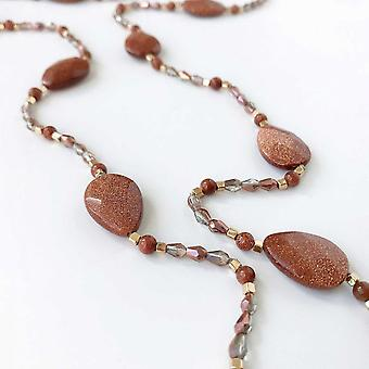 Bcharmd Semi Precious Brown Sandstone Necklace
