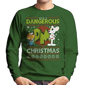 Danger Mouse gevaarlijke kerst brei patroon mannen Sweatshirt